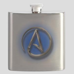 Atheist Logo (blue) Flask