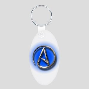 Atheist Logo (blue) Aluminum Oval Keychain