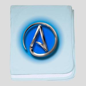Atheist Logo (blue) baby blanket