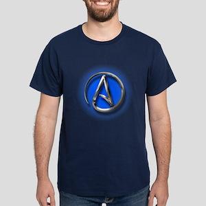 Atheist Logo (blue) Dark T-Shirt