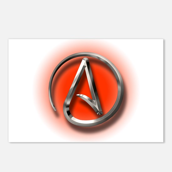 Atheist Logo (red) Postcards (Package of 8)