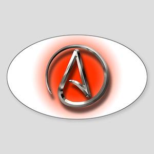 Atheist Logo (red) Sticker (Oval)