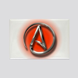 Atheist Logo (red) Rectangle Magnet