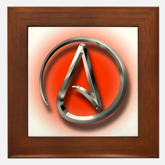 Atheist Logo (red) Framed Tile