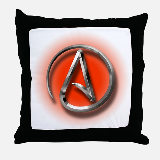 Atheist Logo (red) Throw Pillow