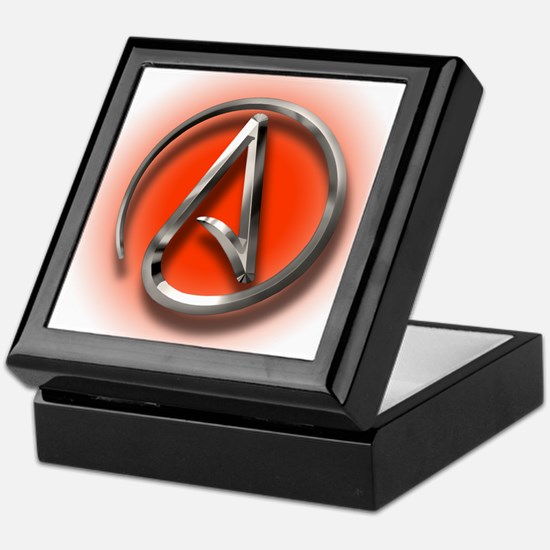 Atheist Logo (red) Keepsake Box
