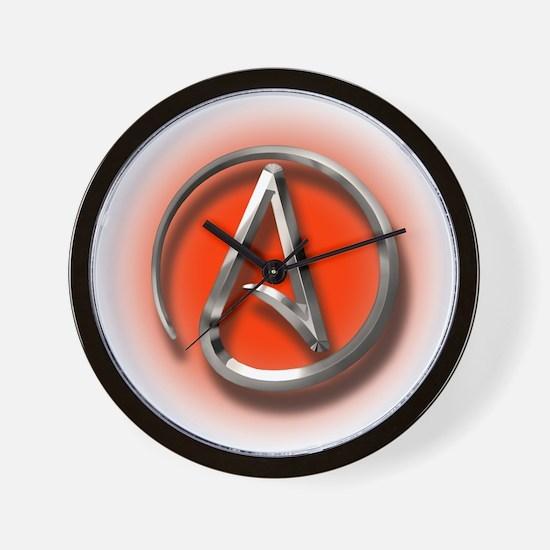 Atheist Logo (red) Wall Clock