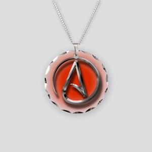 Atheist Logo (red) Necklace Circle Charm