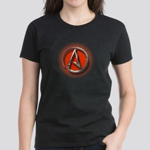 Atheist Logo (red) Women's Dark T-Shirt