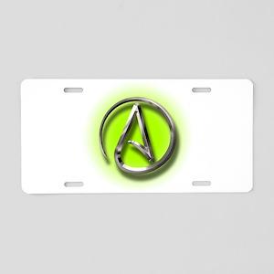Atheist Logo (green) Aluminum License Plate