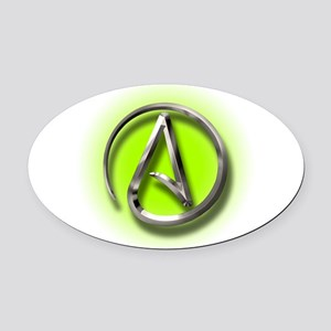 Atheist Logo (green) Oval Car Magnet