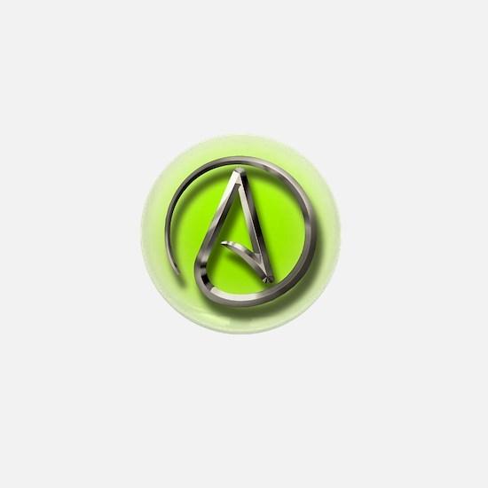 Atheist Logo (green) Mini Button
