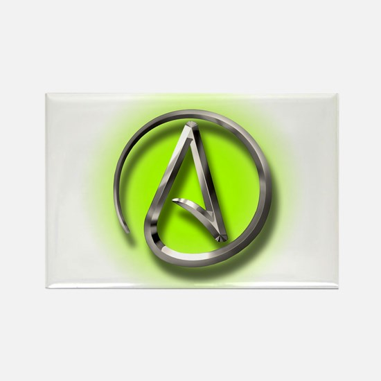 Atheist Logo (green) Rectangle Magnet