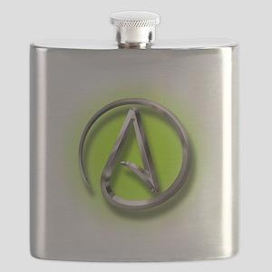 Atheist Logo (green) Flask