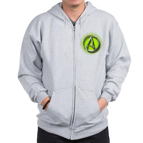 Atheist Logo (green) Zip Hoodie