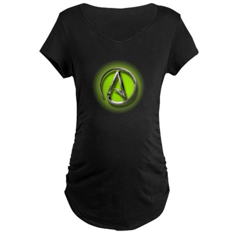 Atheist Logo (green) Maternity Dark T-Shirt