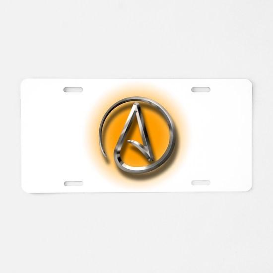 Atheist Logo (orange) Aluminum License Plate