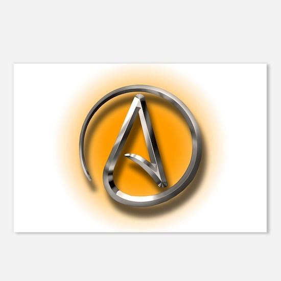 Atheist Logo (orange) Postcards (Package of 8)