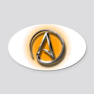 Atheist Logo (orange) Oval Car Magnet