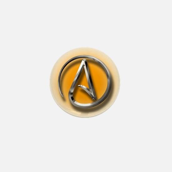 Atheist Logo (orange) Mini Button