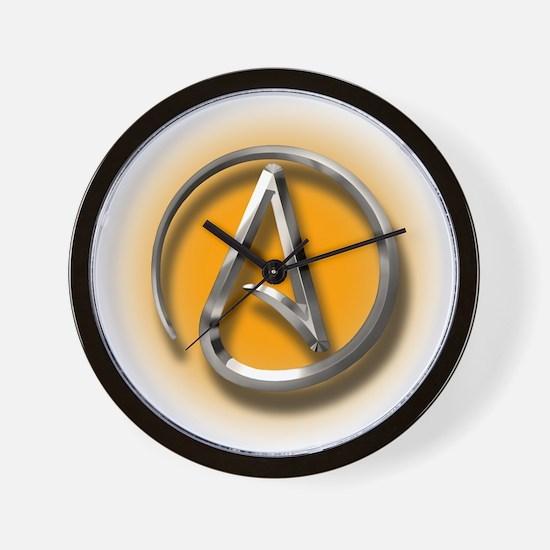 Atheist Logo (orange) Wall Clock