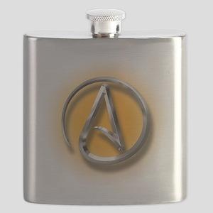 Atheist Logo (orange) Flask