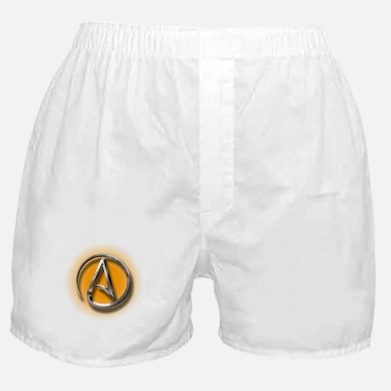 Atheist Logo (orange) Boxer Shorts