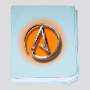 Atheist Logo (orange) baby blanket