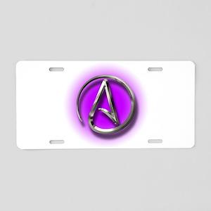 Atheist Logo (purple) Aluminum License Plate