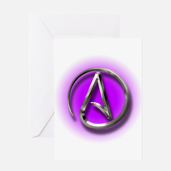 Atheist Logo (purple) Greeting Card