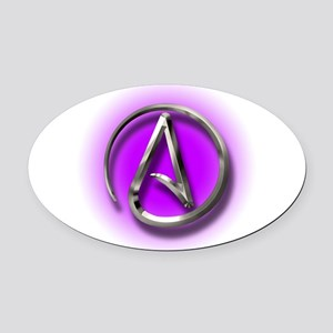 Atheist Logo (purple) Oval Car Magnet