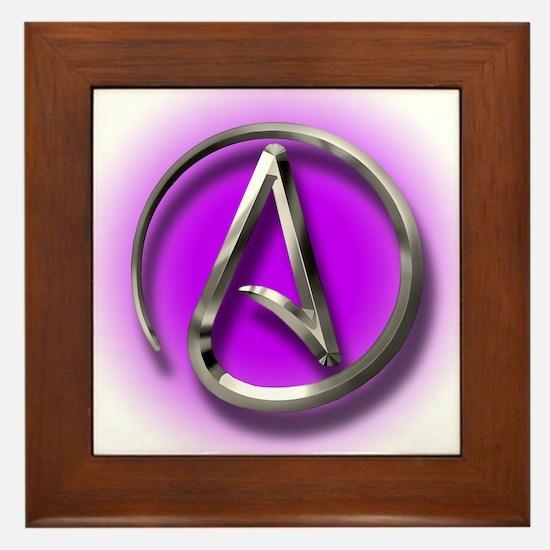 Atheist Logo (purple) Framed Tile