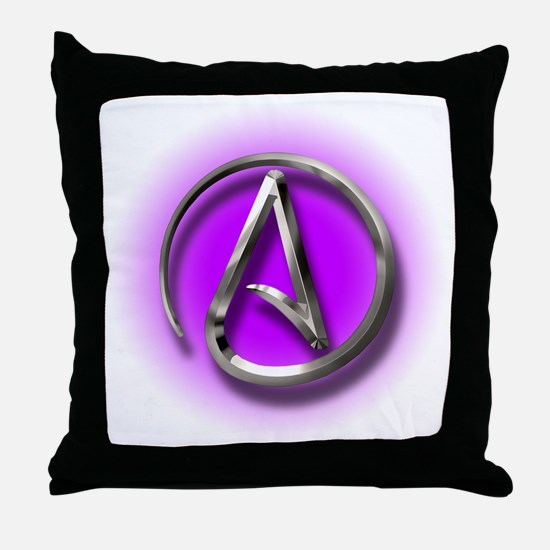 Atheist Logo (purple) Throw Pillow