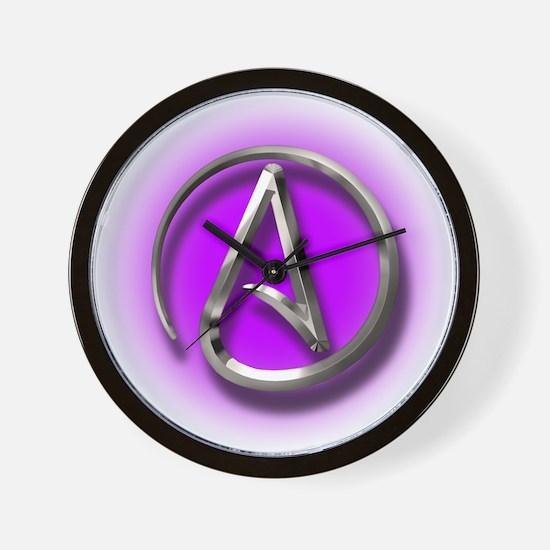 Atheist Logo (purple) Wall Clock