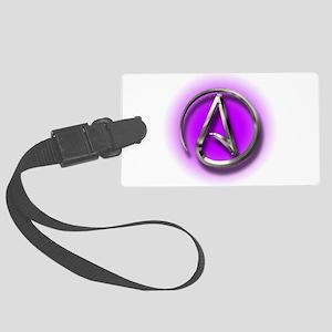 Atheist Logo (purple) Large Luggage Tag