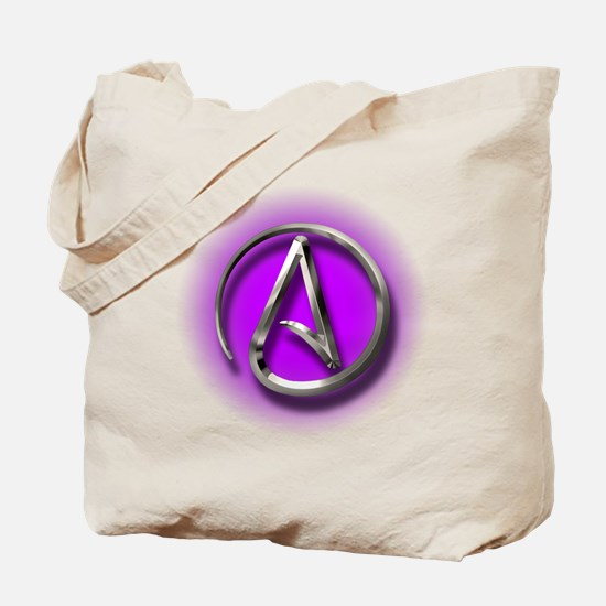 Atheist Logo (purple) Tote Bag