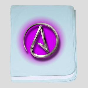 Atheist Logo (purple) baby blanket