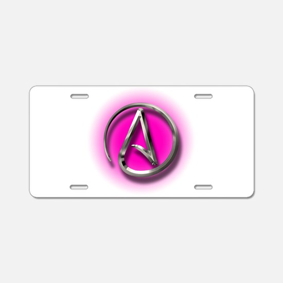 Atheist Logo (pink) Aluminum License Plate