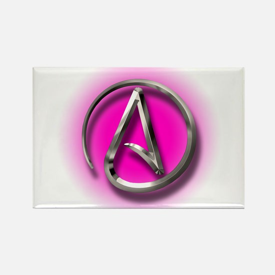 Atheist Logo (pink) Rectangle Magnet