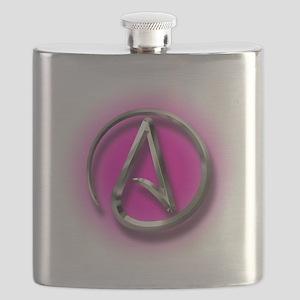 Atheist Logo (pink) Flask