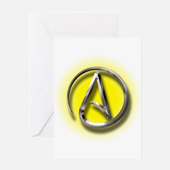 Atheist Logo (yellow) Greeting Card