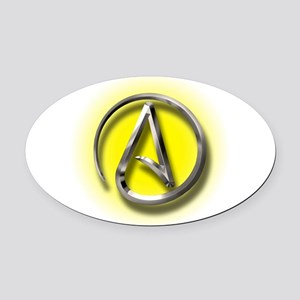 Atheist Logo (yellow) Oval Car Magnet