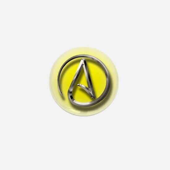 Atheist Logo (yellow) Mini Button