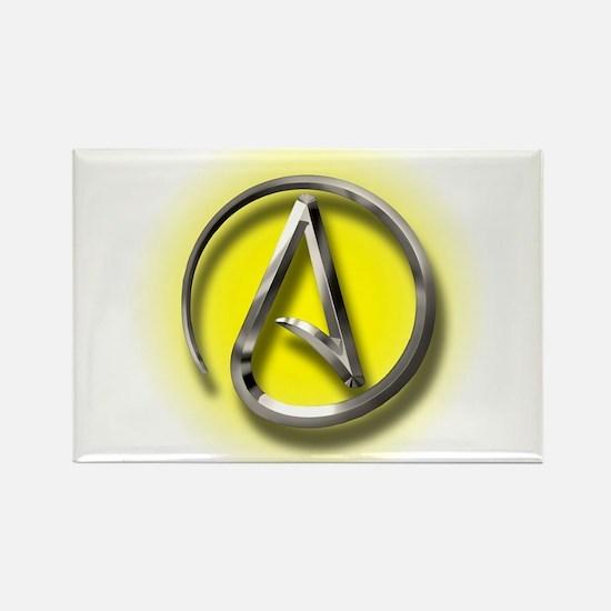Atheist Logo (yellow) Rectangle Magnet