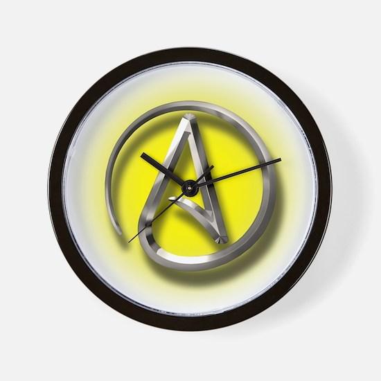 Atheist Logo (yellow) Wall Clock