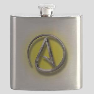 Atheist Logo (yellow) Flask