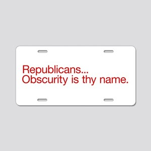 Republican Obscurity Aluminum License Plate