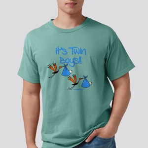 Twin Boys with Stork Tra Mens Comfort Colors Shirt