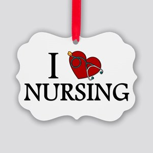 I Love Nursing Picture Ornament
