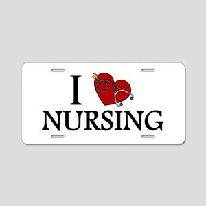 I Love Nursing Aluminum License Plate